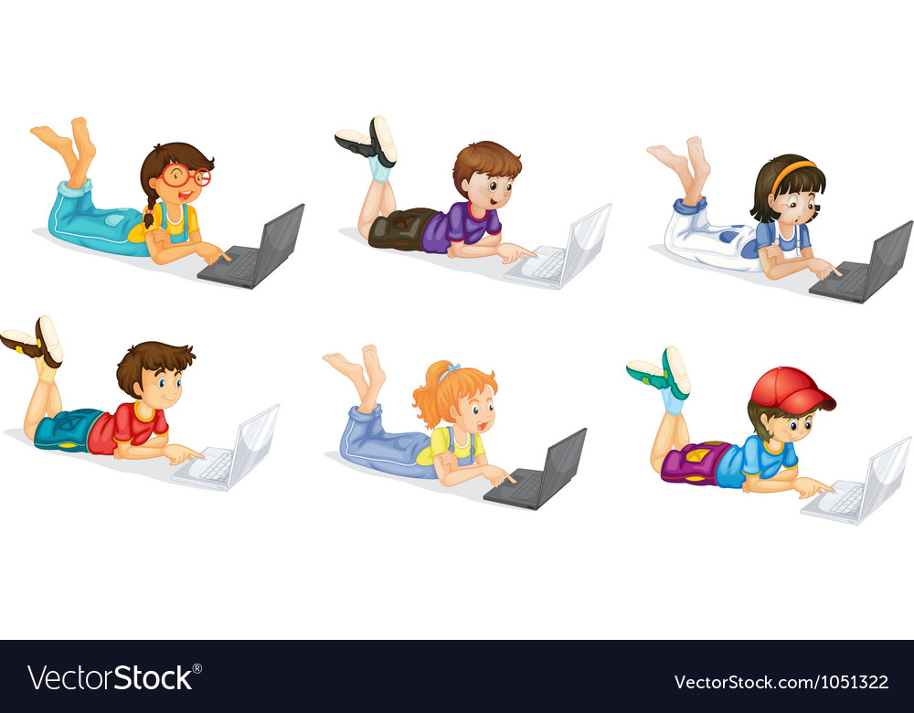 Laptops and kids vector | Price: 3 Credit (USD $3)