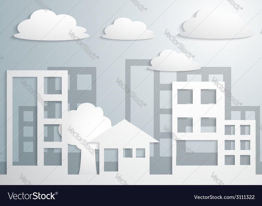 Paper town and buildings vector | Price: 1 Credit (USD $1)