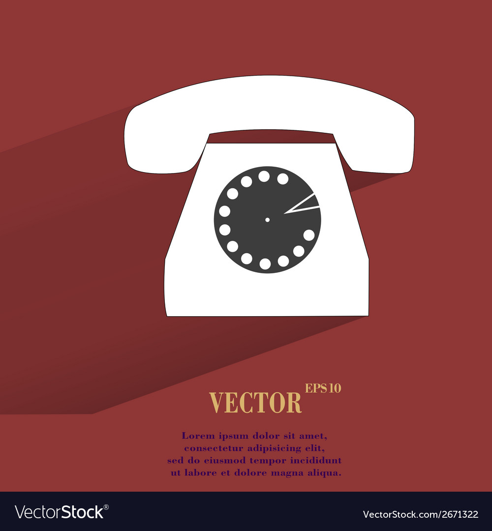 Retro telephone flat modern web button with long vector | Price: 1 Credit (USD $1)