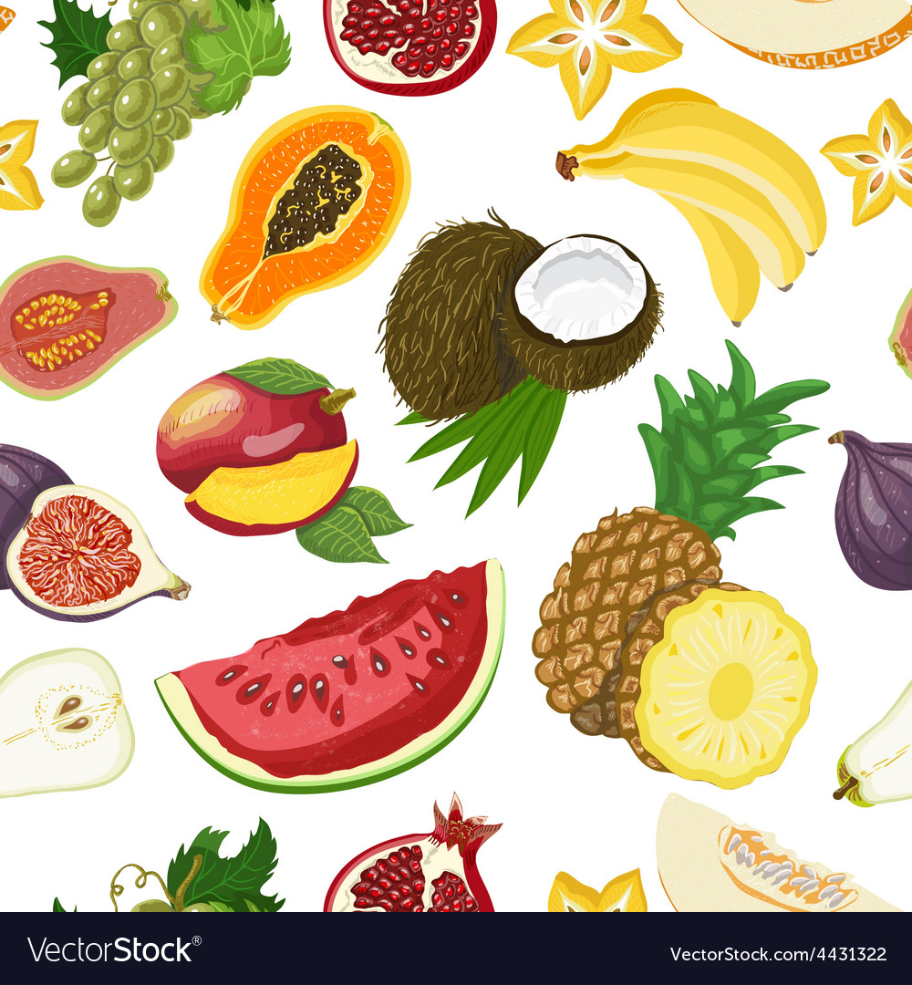 Seamless pattern with healthy fruits vector | Price: 1 Credit (USD $1)