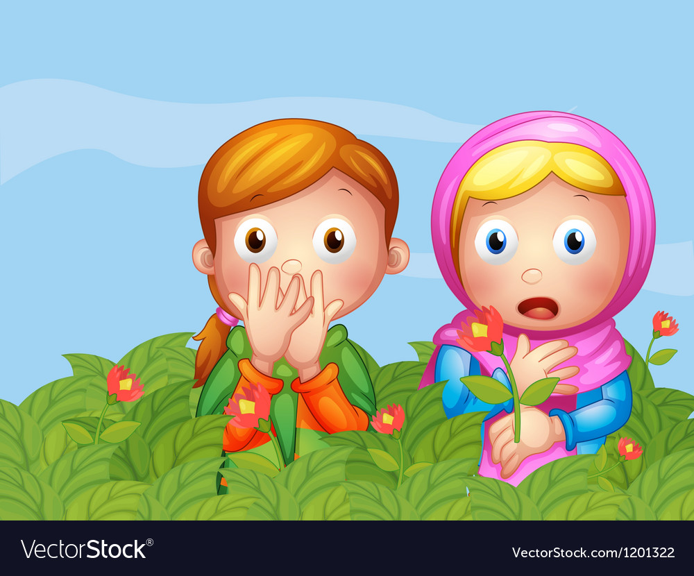 Shocked faces of two ladies in the garden vector | Price: 1 Credit (USD $1)