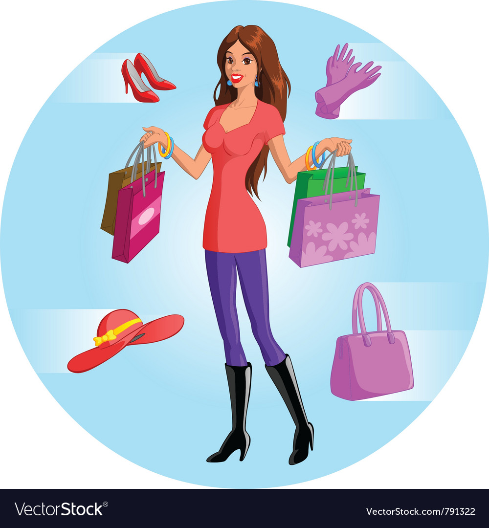 Shopping woman vector | Price: 3 Credit (USD $3)