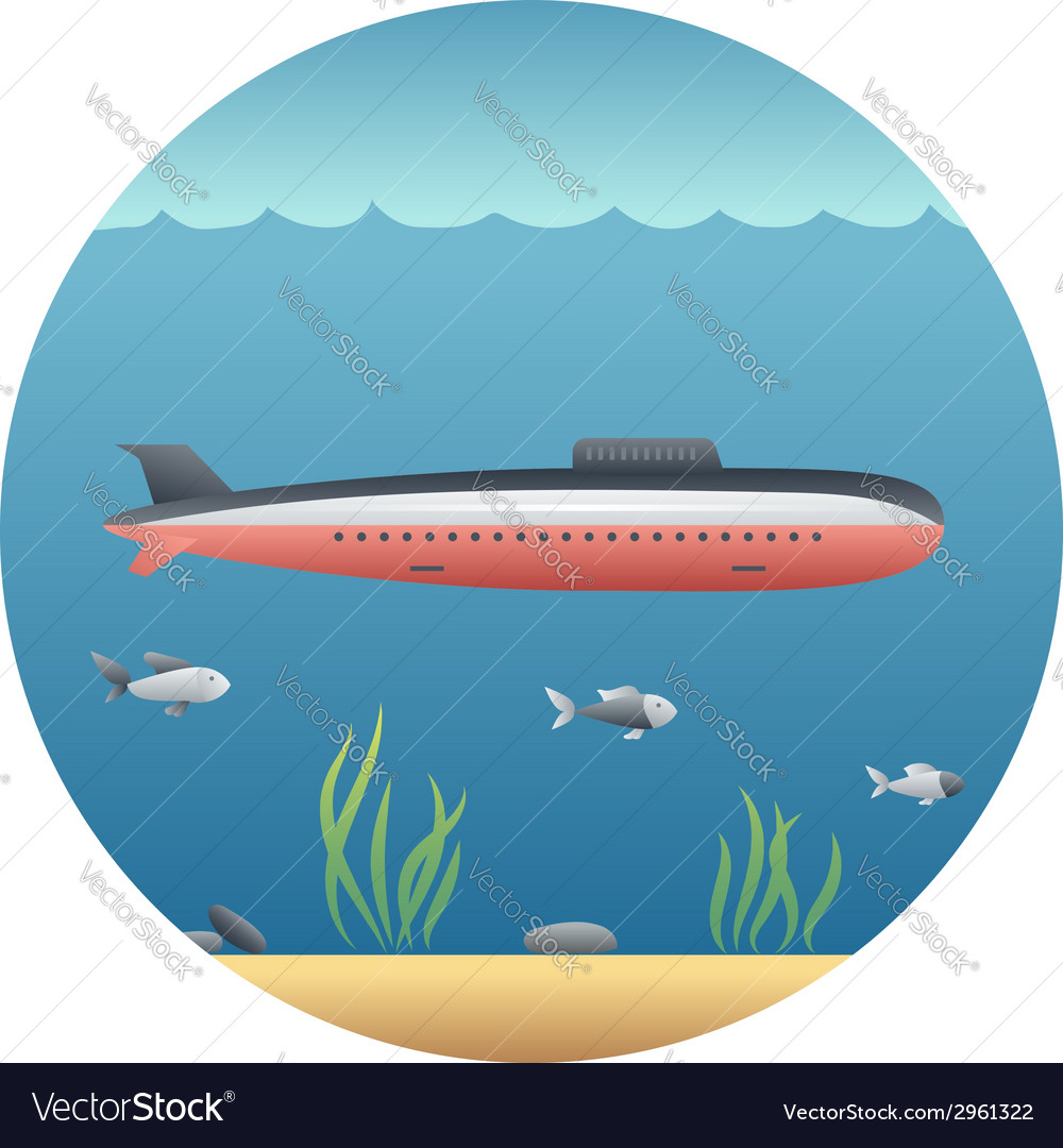 Submarine detailed vector | Price: 1 Credit (USD $1)
