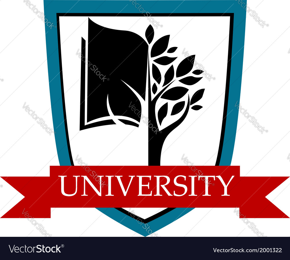 University emblem with shield and banner vector | Price: 1 Credit (USD $1)