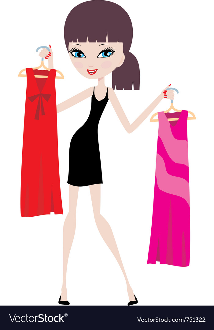 Young woman with hangers vector | Price: 3 Credit (USD $3)