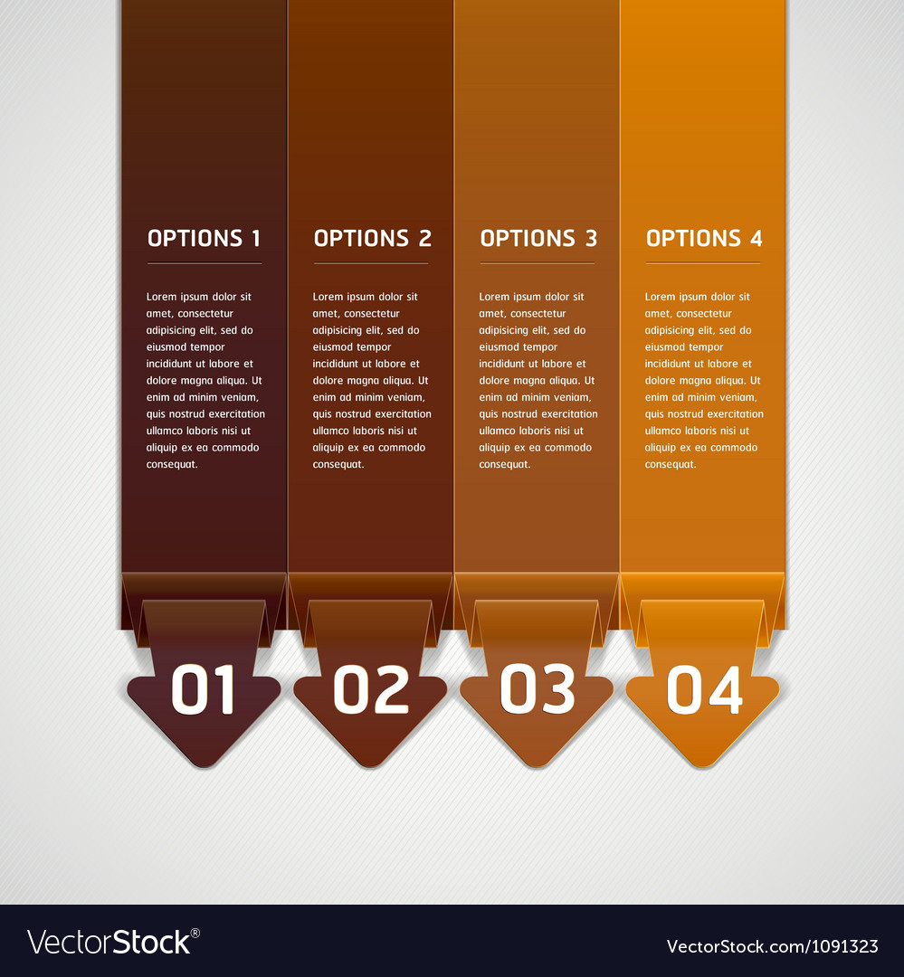 Brown color origami style number options banner vector | Price: 1 Credit (USD $1)