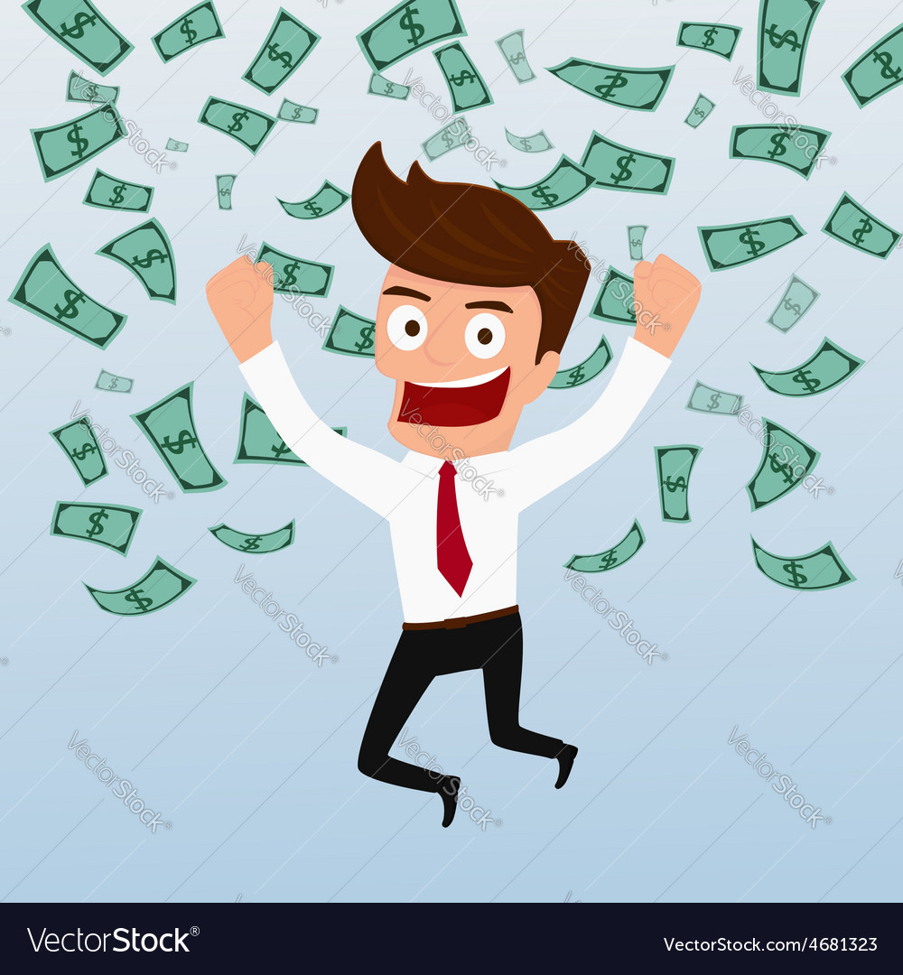 Businessman happy with money flowing in the air vector | Price: 1 Credit (USD $1)