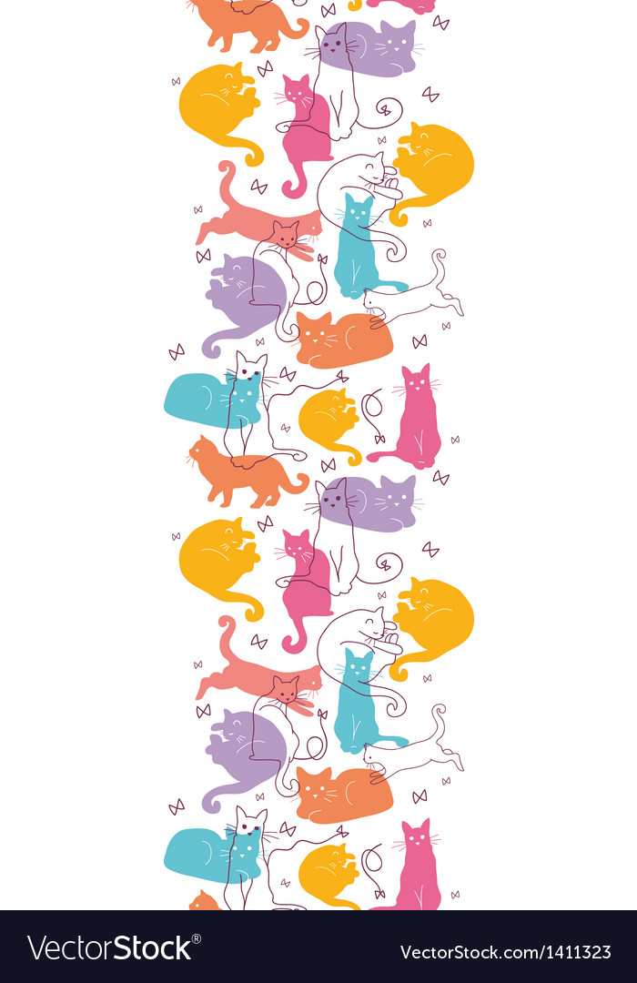 Colorful cats vertical seamless pattern background vector | Price: 1 Credit (USD $1)