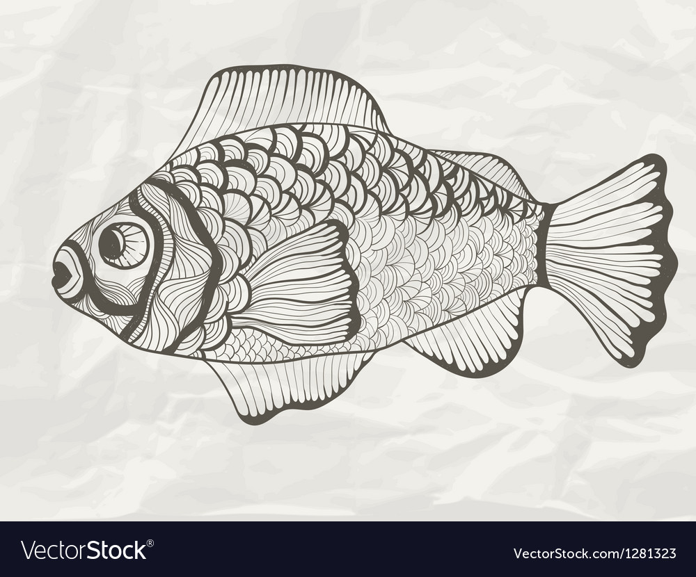 Funky fish on crumpled paper texture vector | Price: 1 Credit (USD $1)