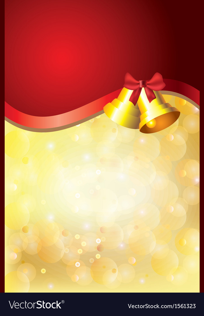 Gold christmas background bells red stripe vector | Price: 1 Credit (USD $1)