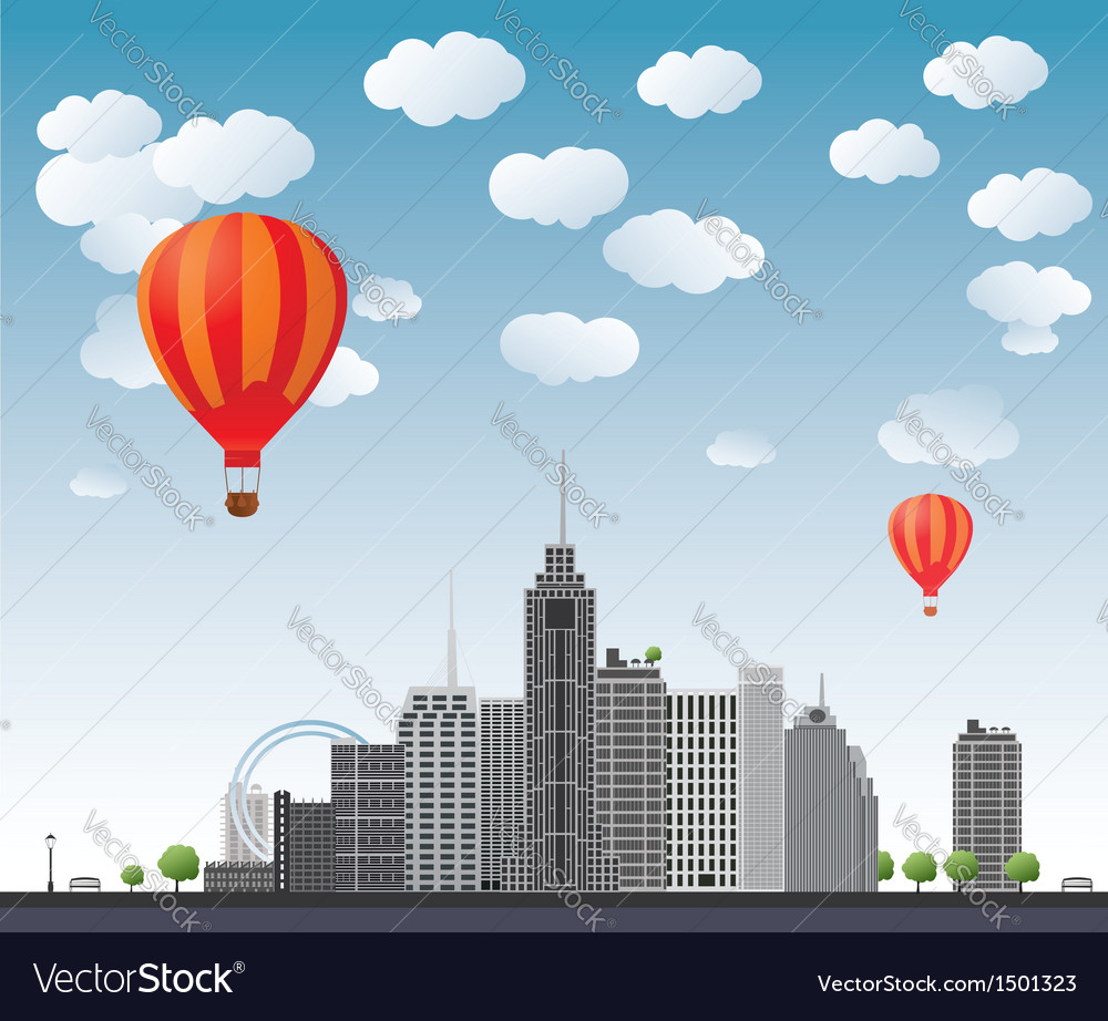 Hot air balloons flying over the town vector   Price: 1 Credit (USD $1)