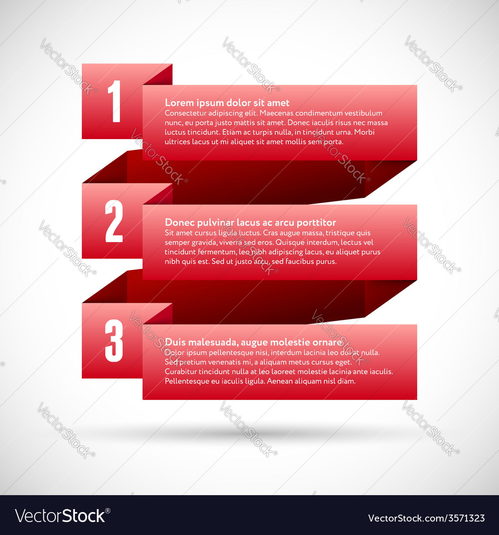 Infographic with numbered infographic ribbons vector | Price: 1 Credit (USD $1)