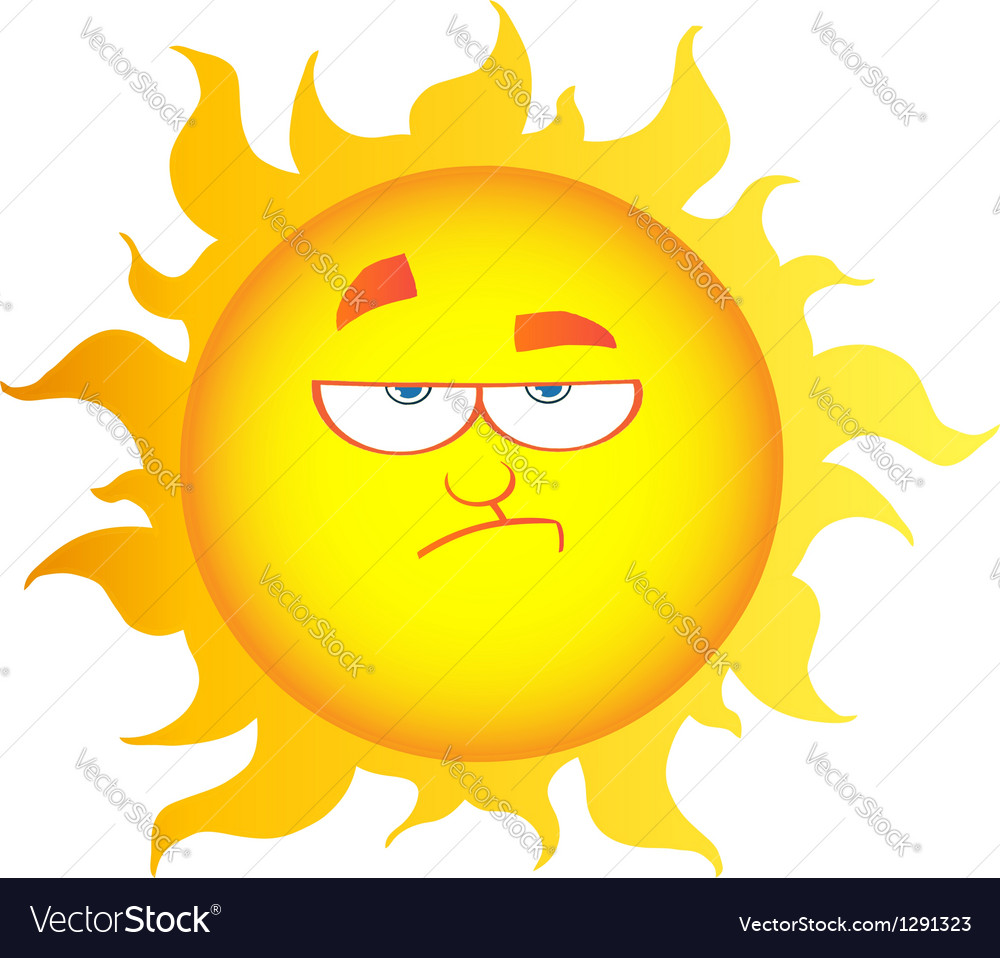 Lowering sun cartoon character vector | Price: 1 Credit (USD $1)