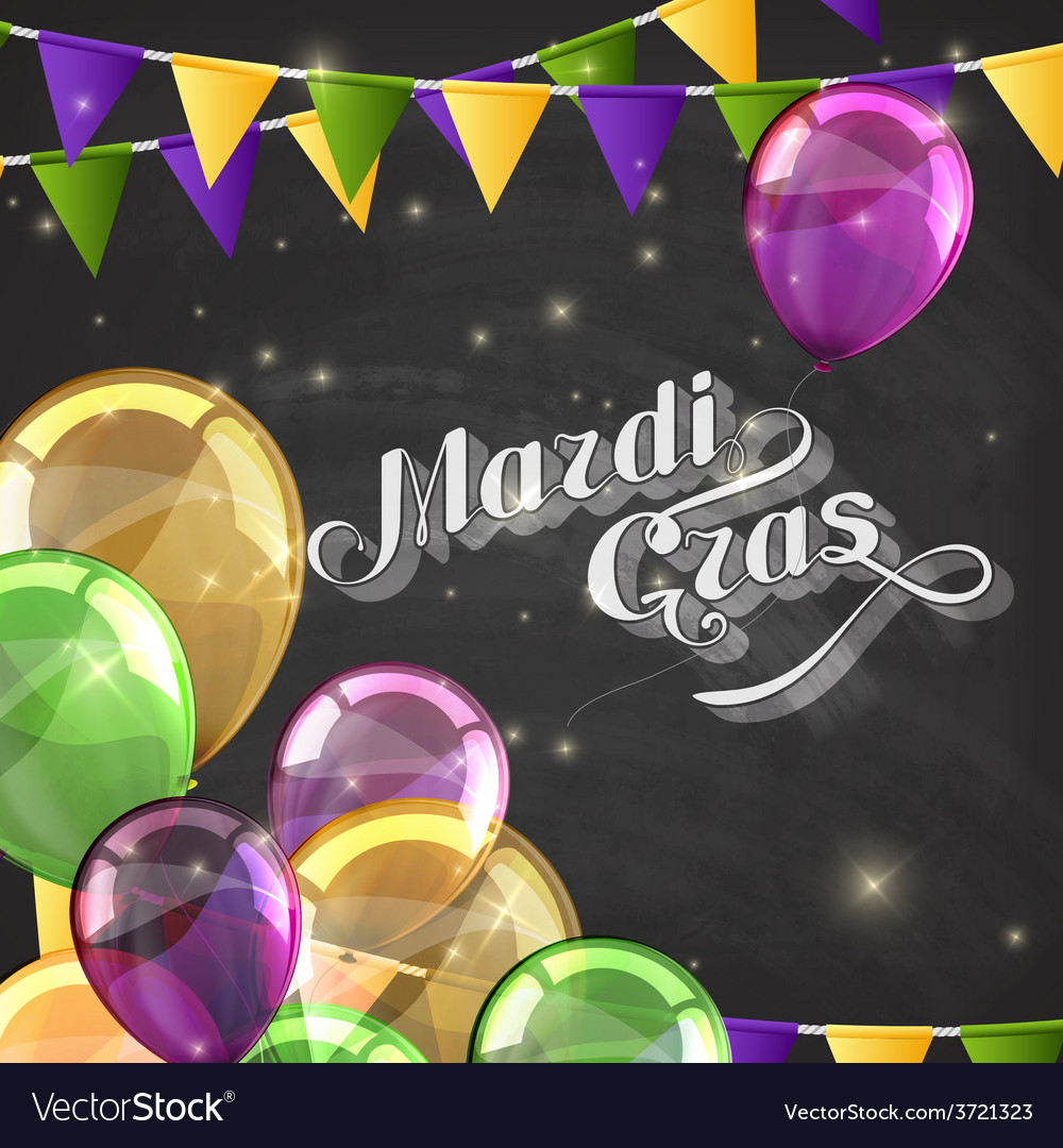 Mardi gras label with festive flags and balloons vector | Price: 1 Credit (USD $1)
