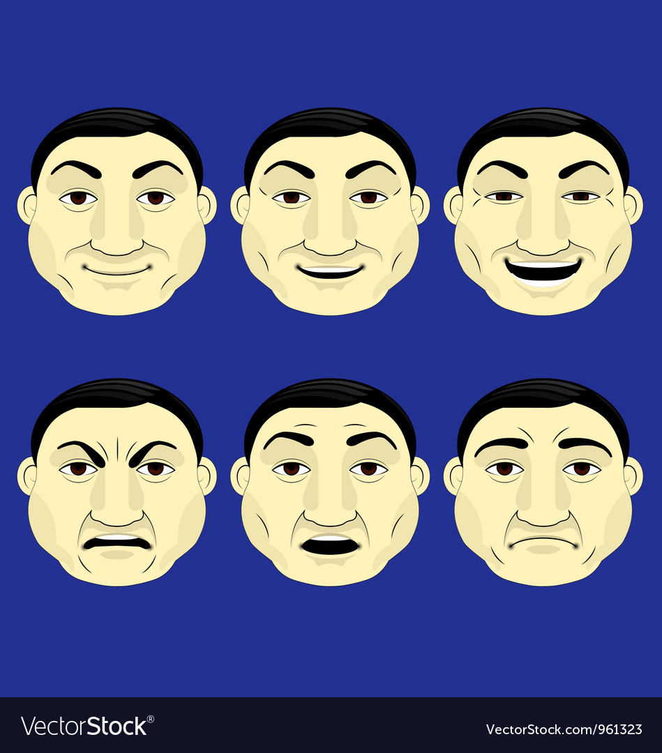 Set of different character expressions vector | Price: 1 Credit (USD $1)