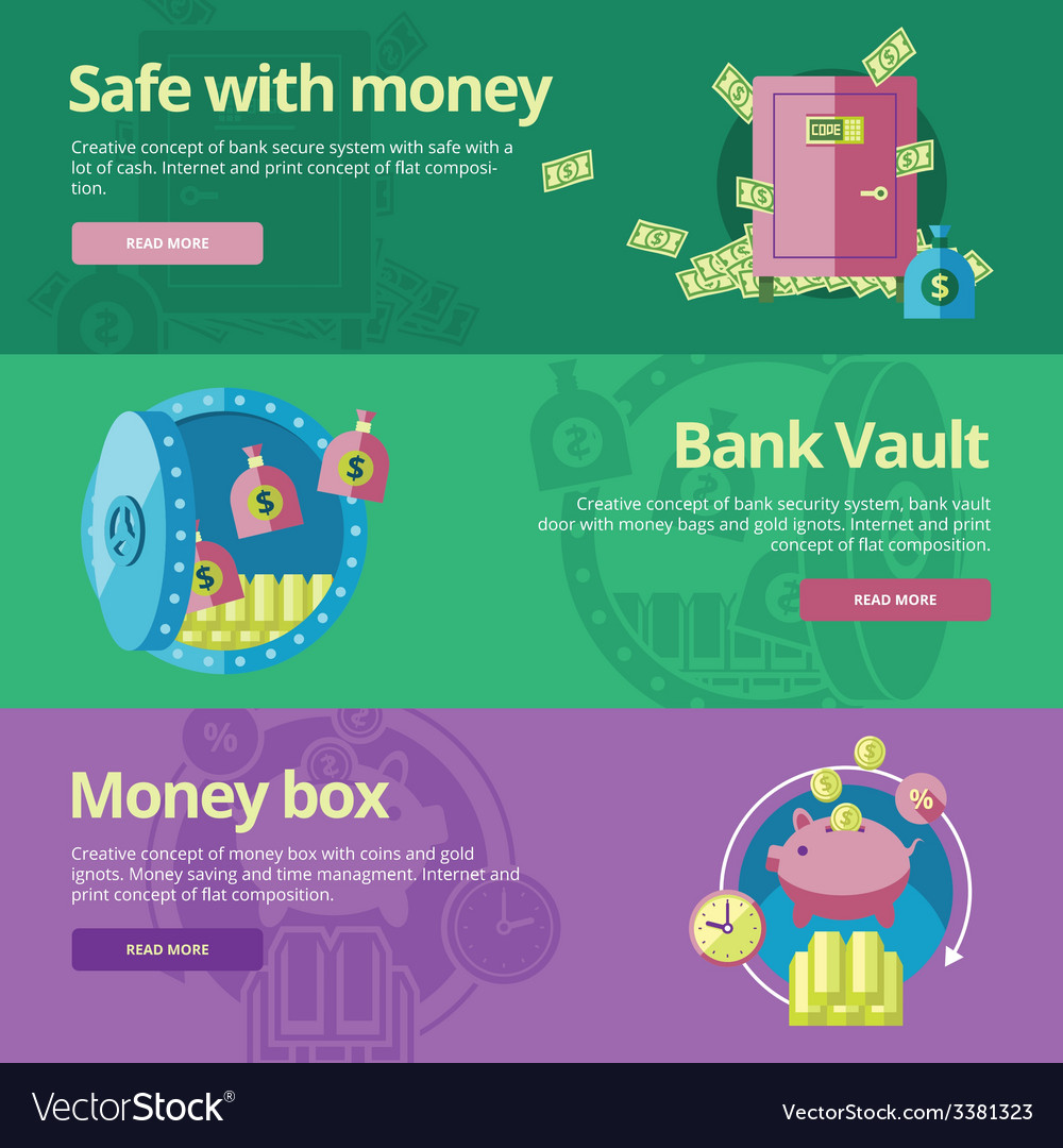 Set of flat design concepts for safe and money vector | Price: 1 Credit (USD $1)