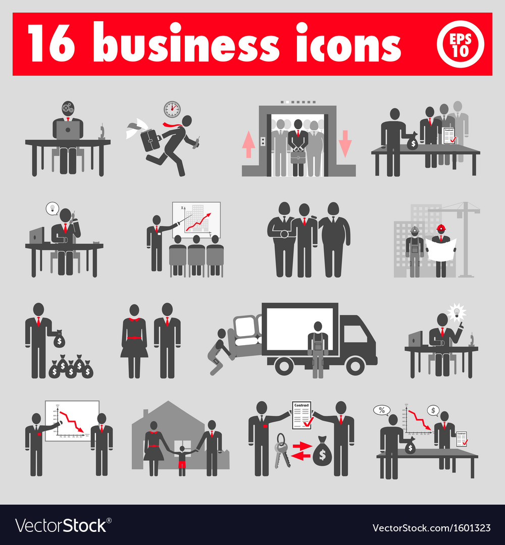 Sixteen business icons vector | Price: 1 Credit (USD $1)