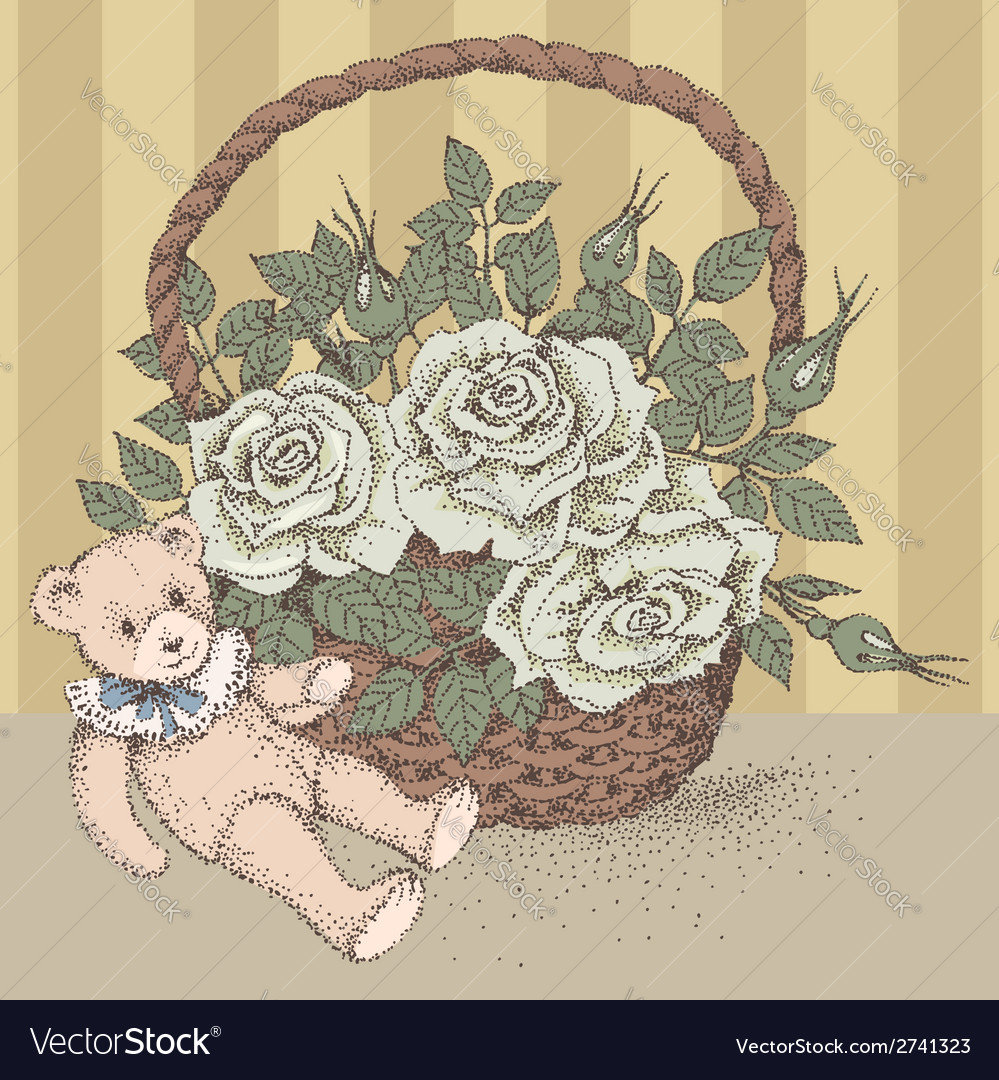 Teddy bear rose vector | Price: 1 Credit (USD $1)