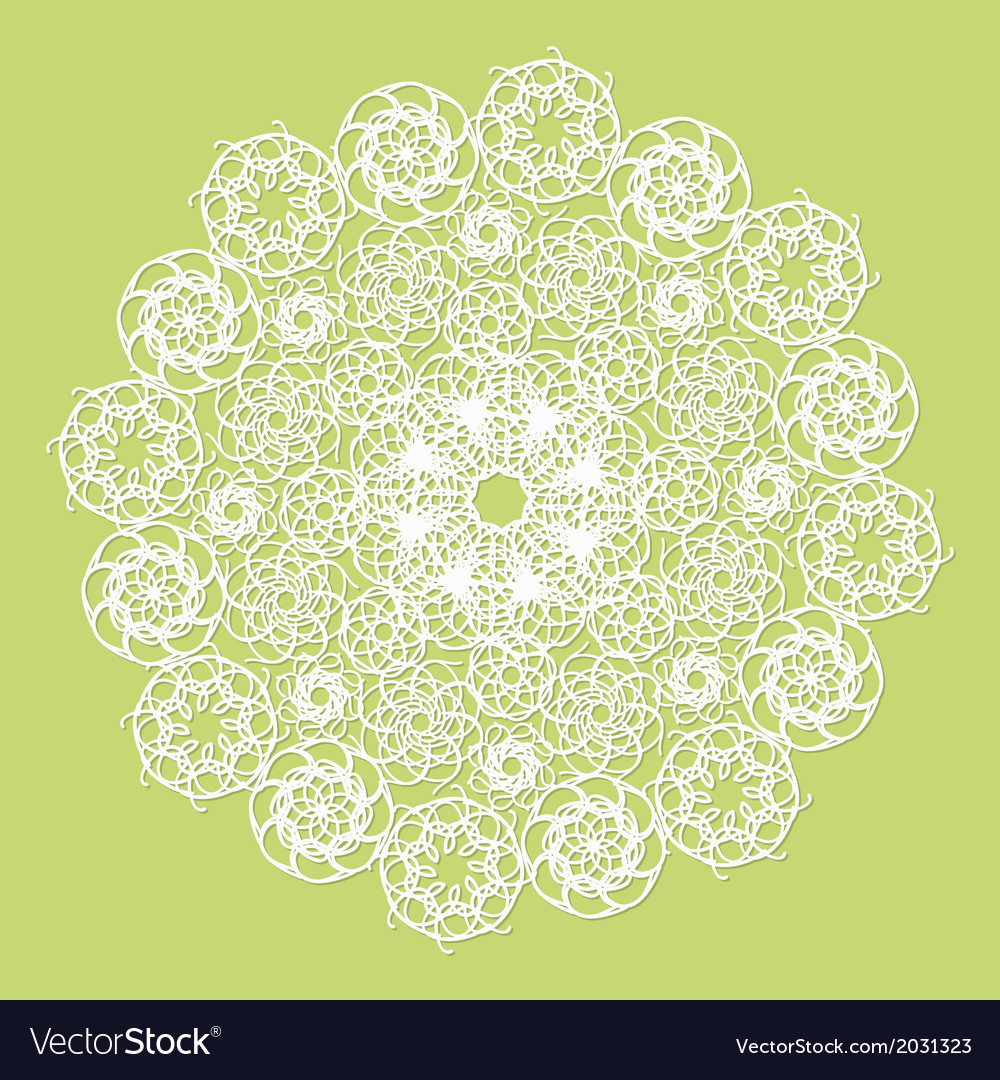 White lace serviette on green background vector | Price: 1 Credit (USD $1)