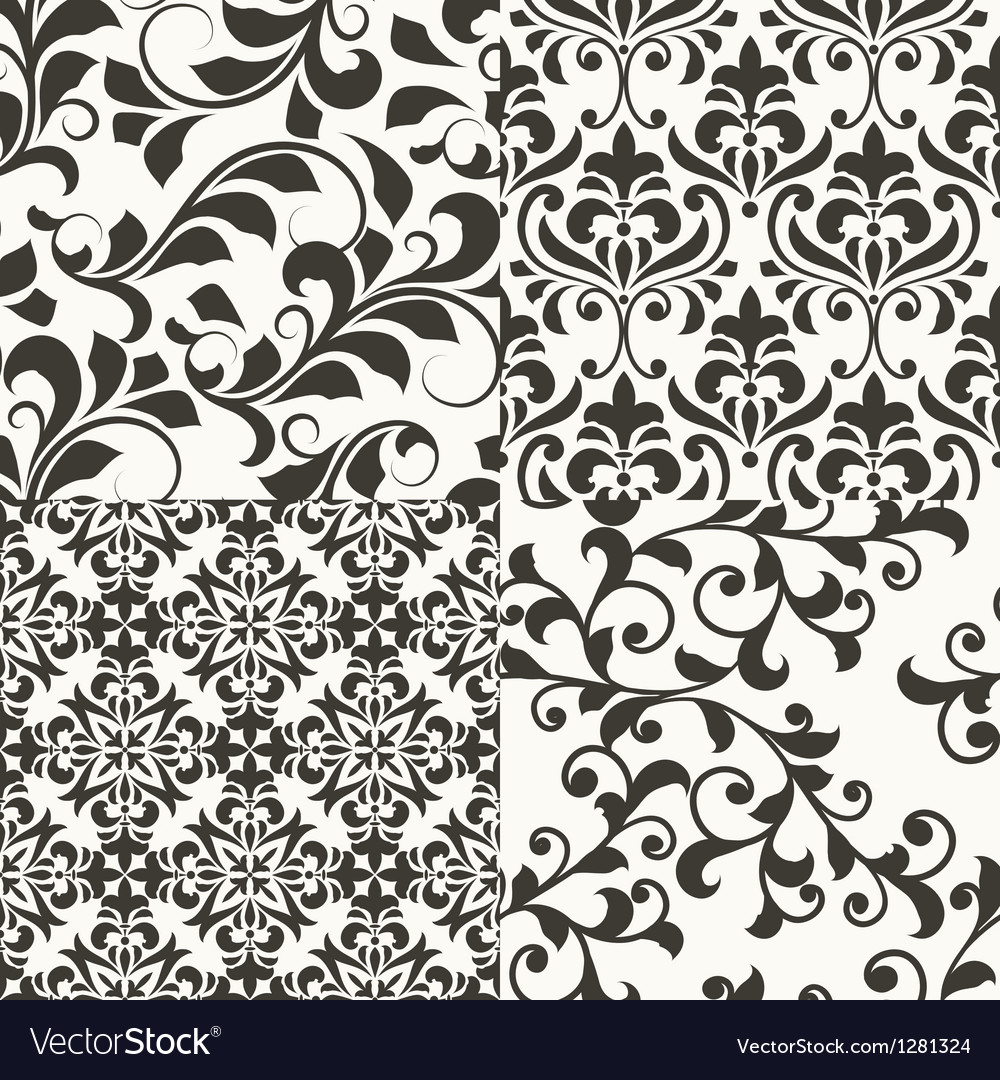 4 seamless vintage floral patterns vector | Price: 1 Credit (USD $1)