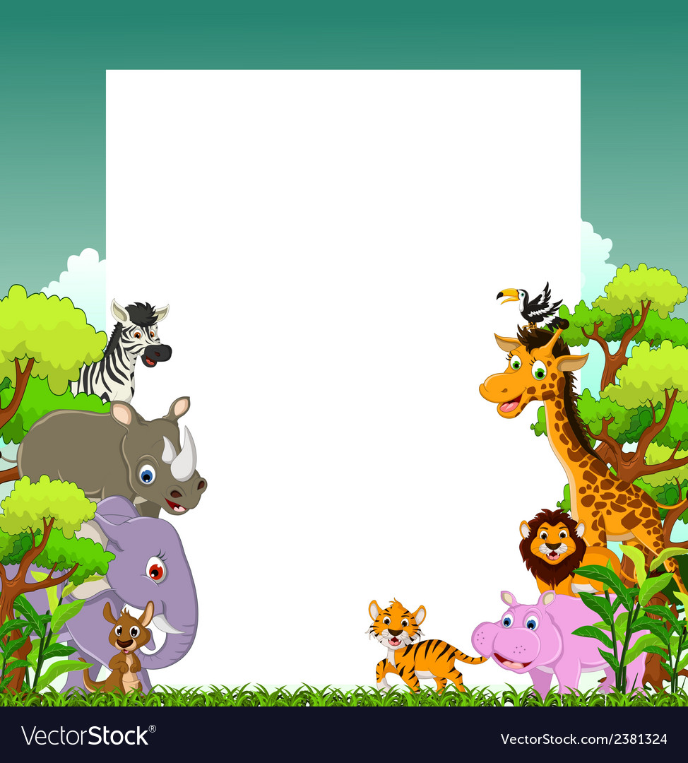 Cute animal cartoon with tropical forest backgroun vector | Price: 3 Credit (USD $3)