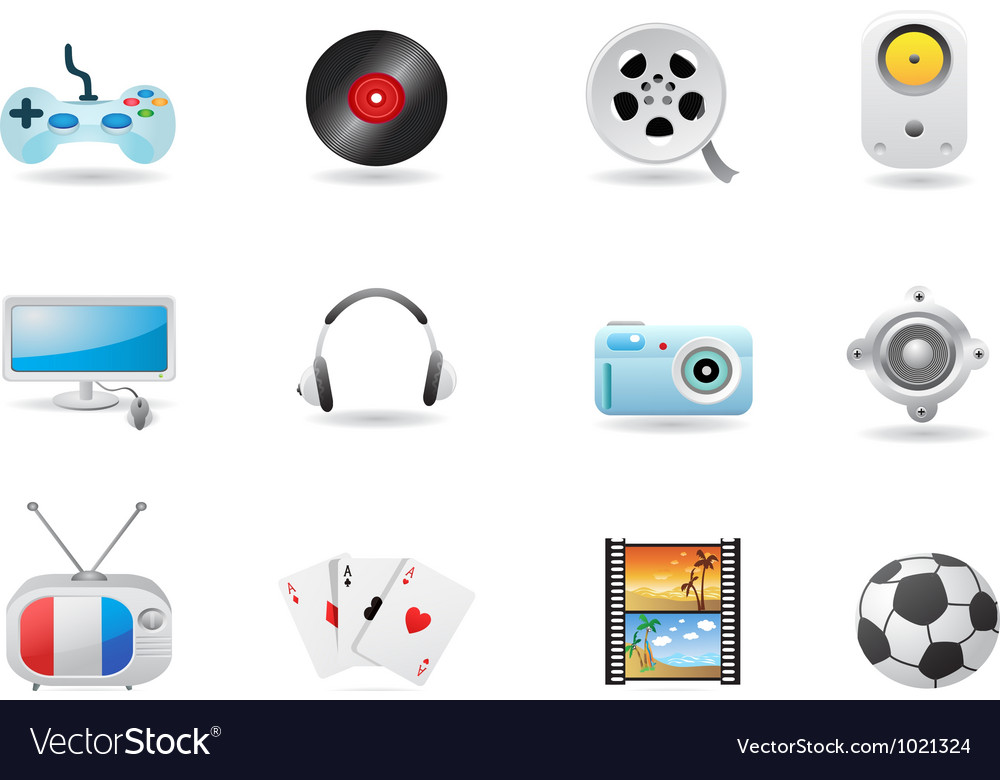 Entertainment icon set vector | Price: 1 Credit (USD $1)