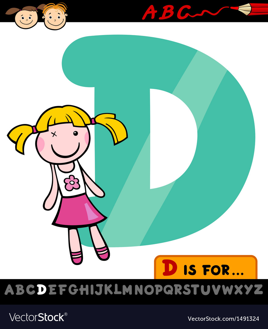Letter d with doll cartoon vector | Price: 1 Credit (USD $1)