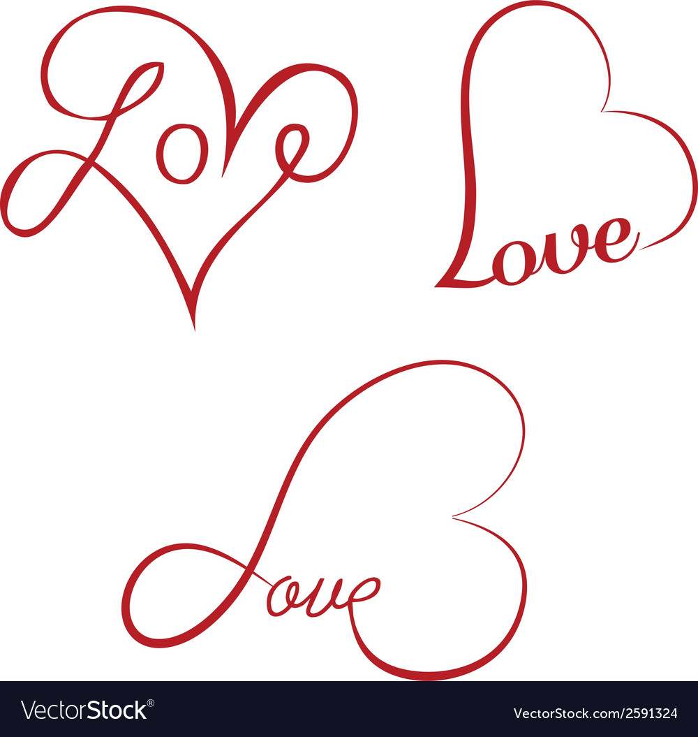 Love calligraphy hearts vector | Price: 1 Credit (USD $1)