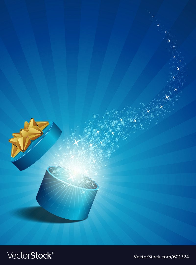 Open explore gift with fly stars vector | Price: 1 Credit (USD $1)