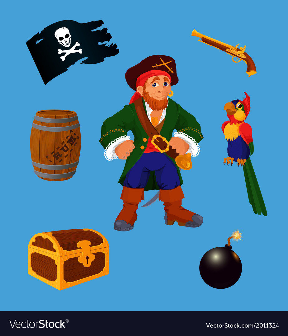 Pirate set design elements vector | Price: 1 Credit (USD $1)