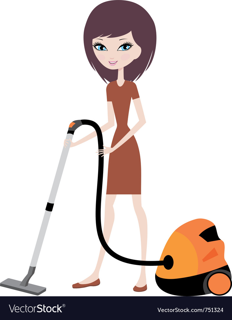 Pretty girl with vacuum cleaner vector | Price: 3 Credit (USD $3)