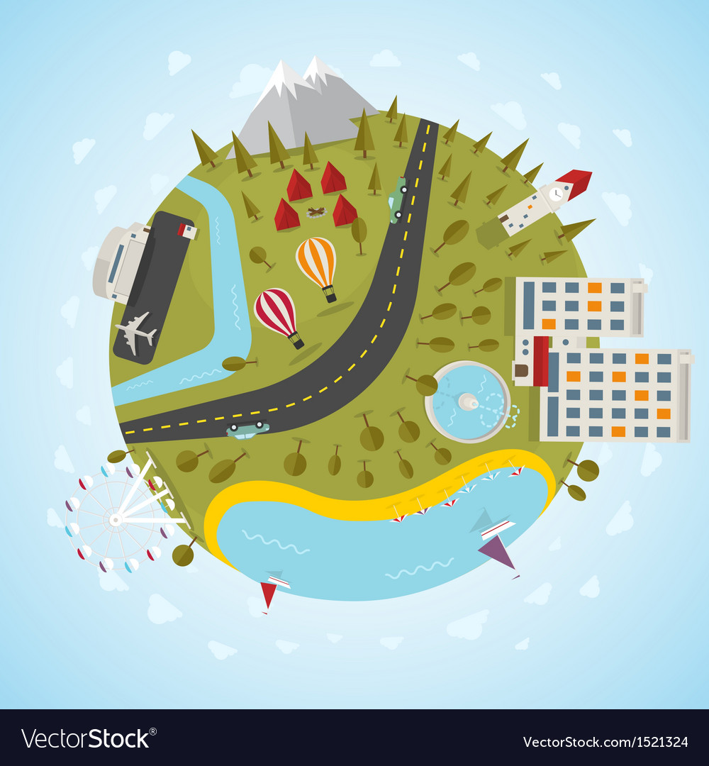 Resort planet vector | Price: 1 Credit (USD $1)