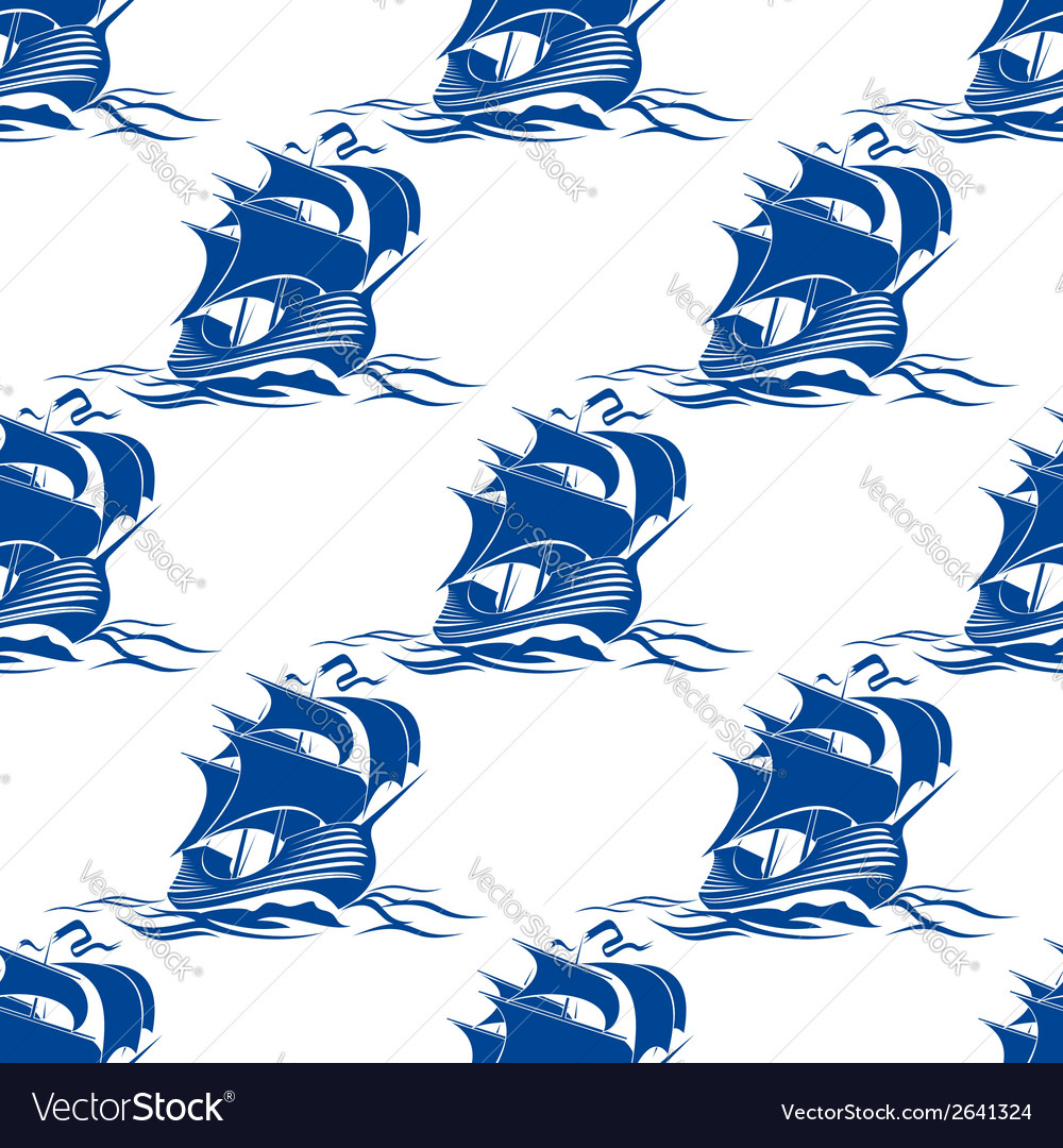 Seamless pattern of rigged sailing ship vector | Price: 1 Credit (USD $1)