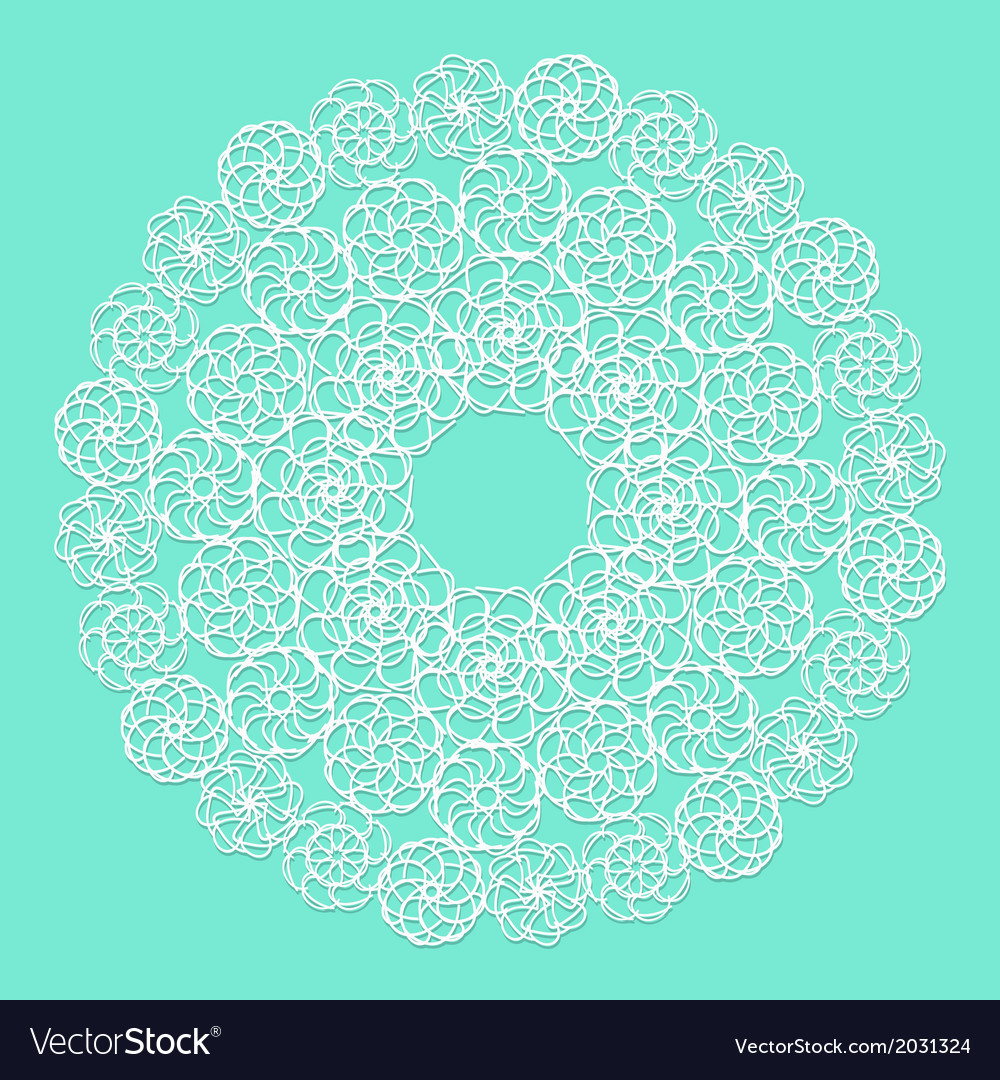White lace serviette on blue background vector | Price: 1 Credit (USD $1)