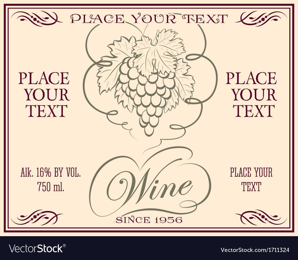 Wine retro label vector | Price: 1 Credit (USD $1)