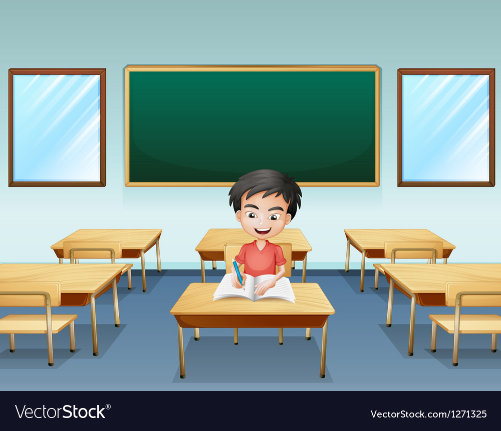 A boy inside a classroom with an empty board at vector | Price: 1 Credit (USD $1)