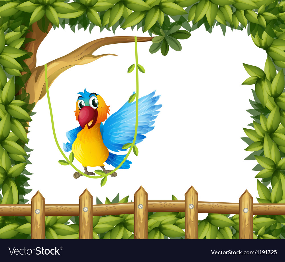 A parrot swinging the vine plant vector | Price: 1 Credit (USD $1)