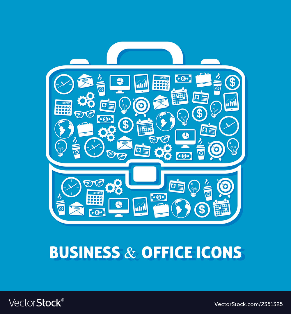 Briefcase office icons vector | Price: 1 Credit (USD $1)