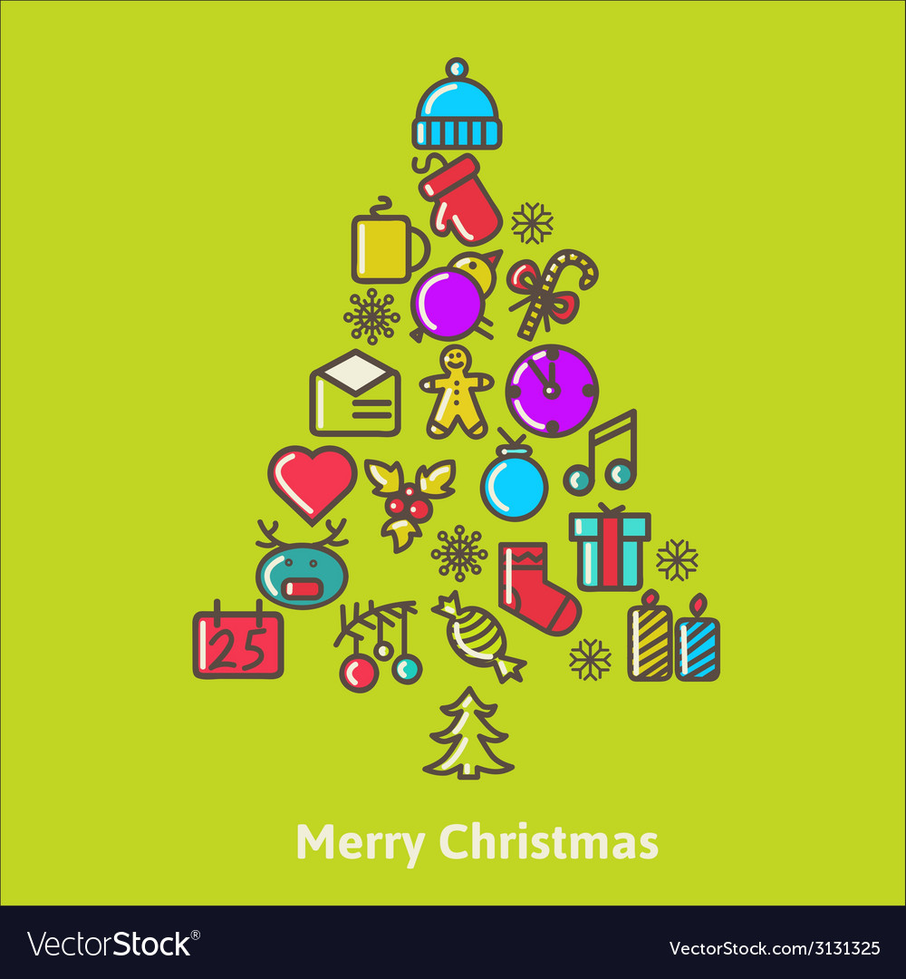 Christmas tree made of xmas icons and elements vector | Price: 1 Credit (USD $1)