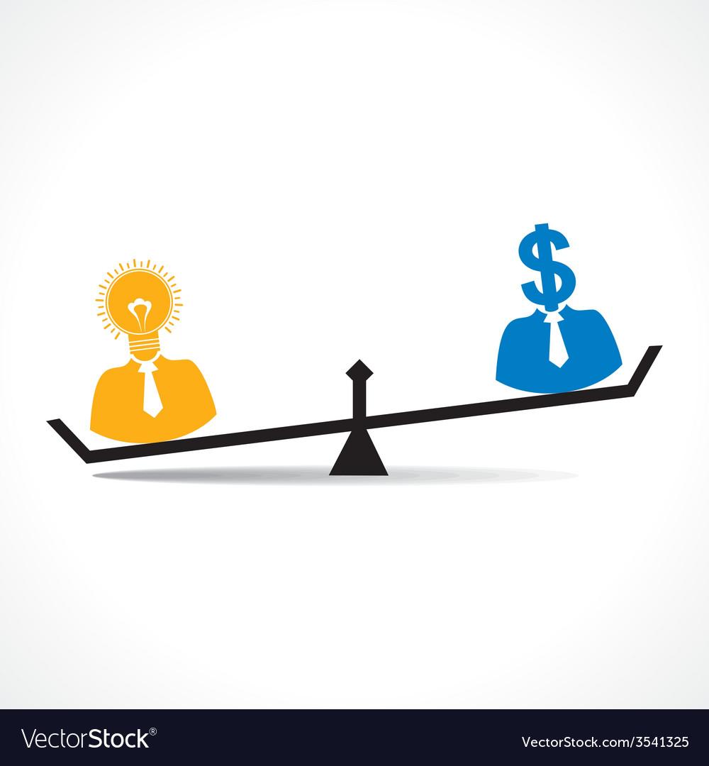 Comparison between men having idea and money stock vector | Price: 1 Credit (USD $1)