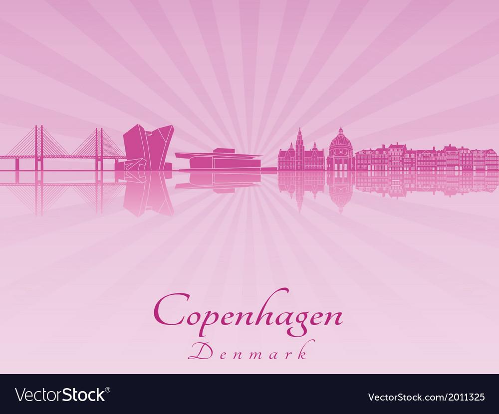 Copenhagen skyline in purple radiant orchid vector | Price: 1 Credit (USD $1)