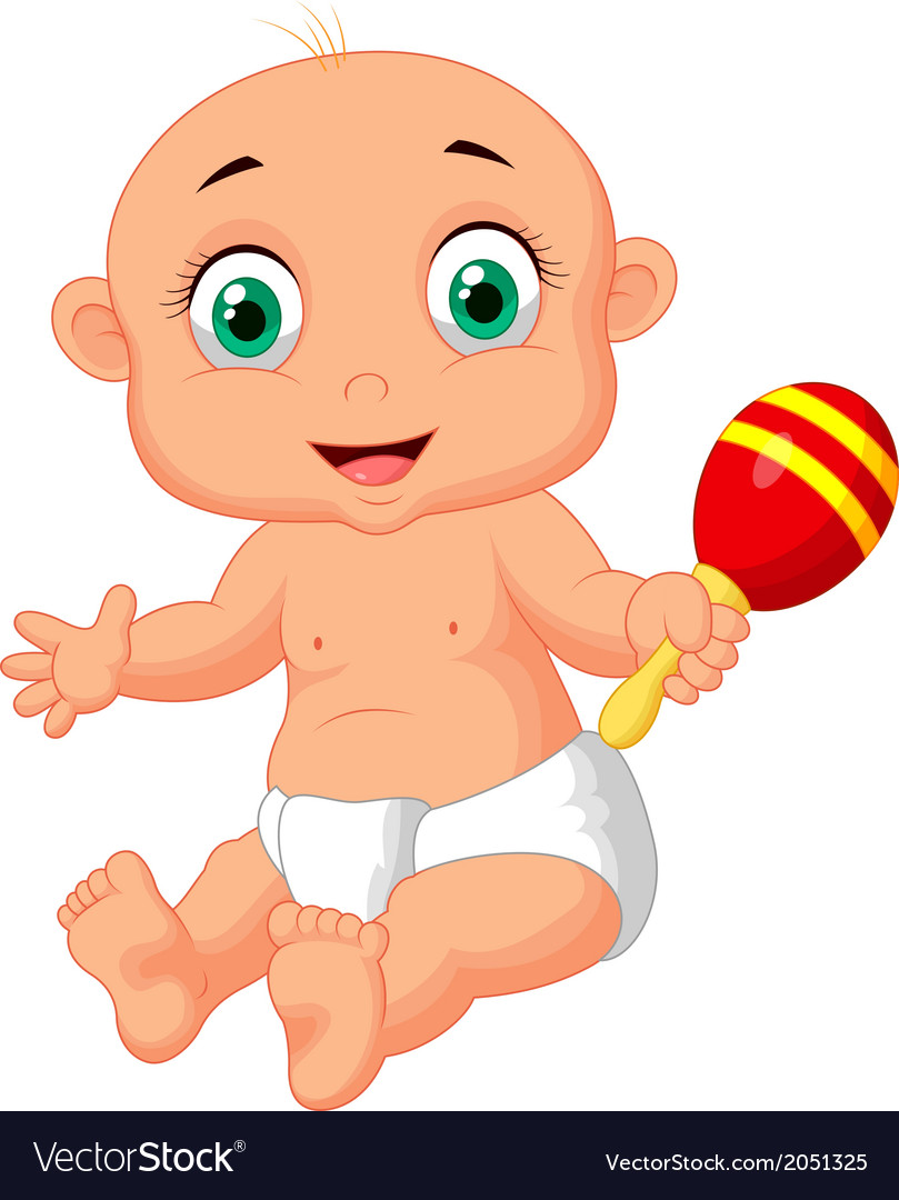Cute baby cartoon playing with macara toy vector | Price: 1 Credit (USD $1)