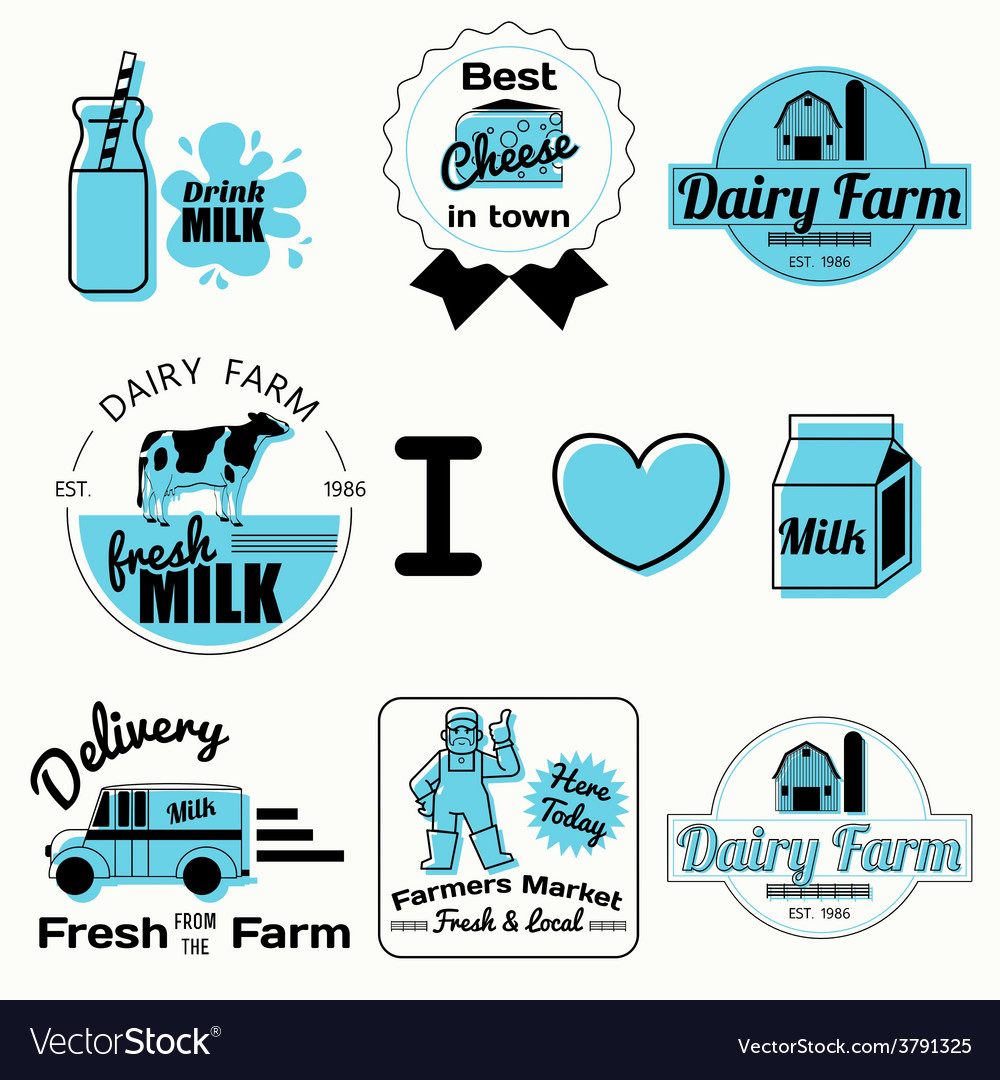 Dairy badges black vector | Price: 1 Credit (USD $1)