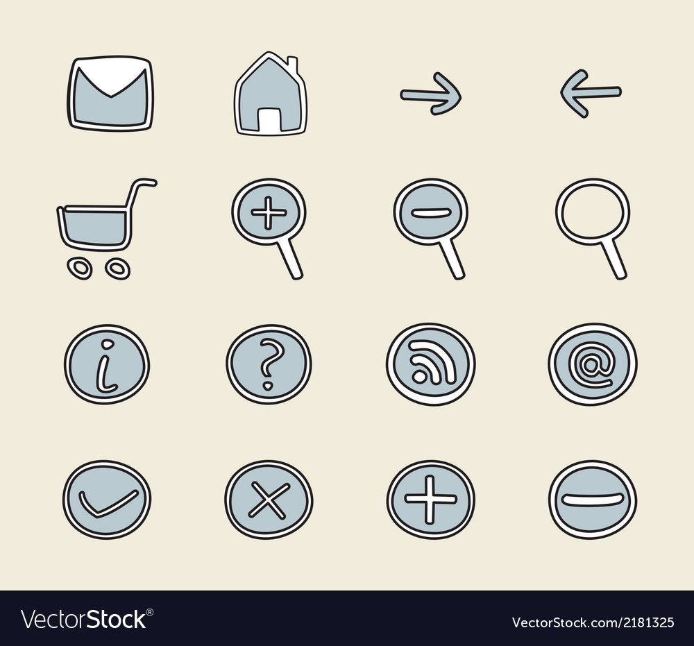 Hand drawn icon button set vector | Price: 1 Credit (USD $1)