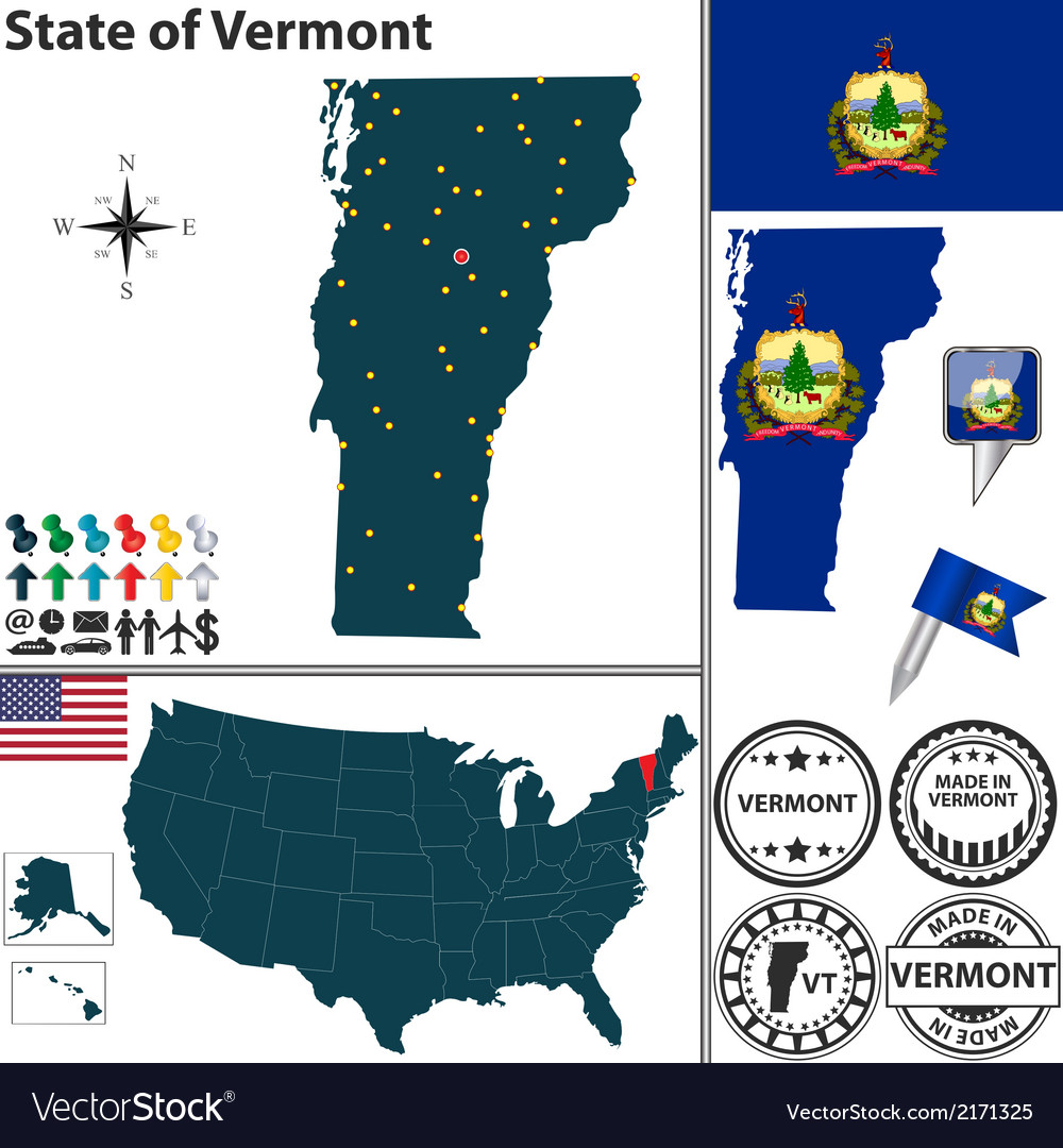 Map of vermont vector | Price: 1 Credit (USD $1)