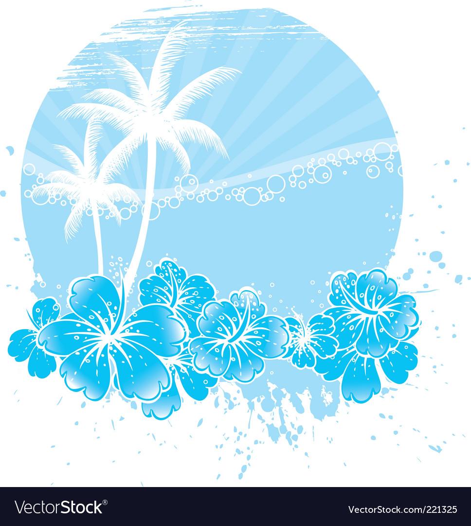 Palm tree hibiscus vector | Price: 1 Credit (USD $1)