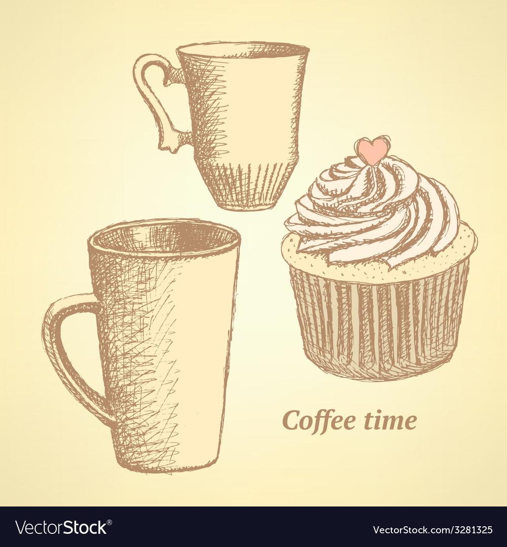 Sketch coffee set in vintage style vector   Price: 1 Credit (USD $1)