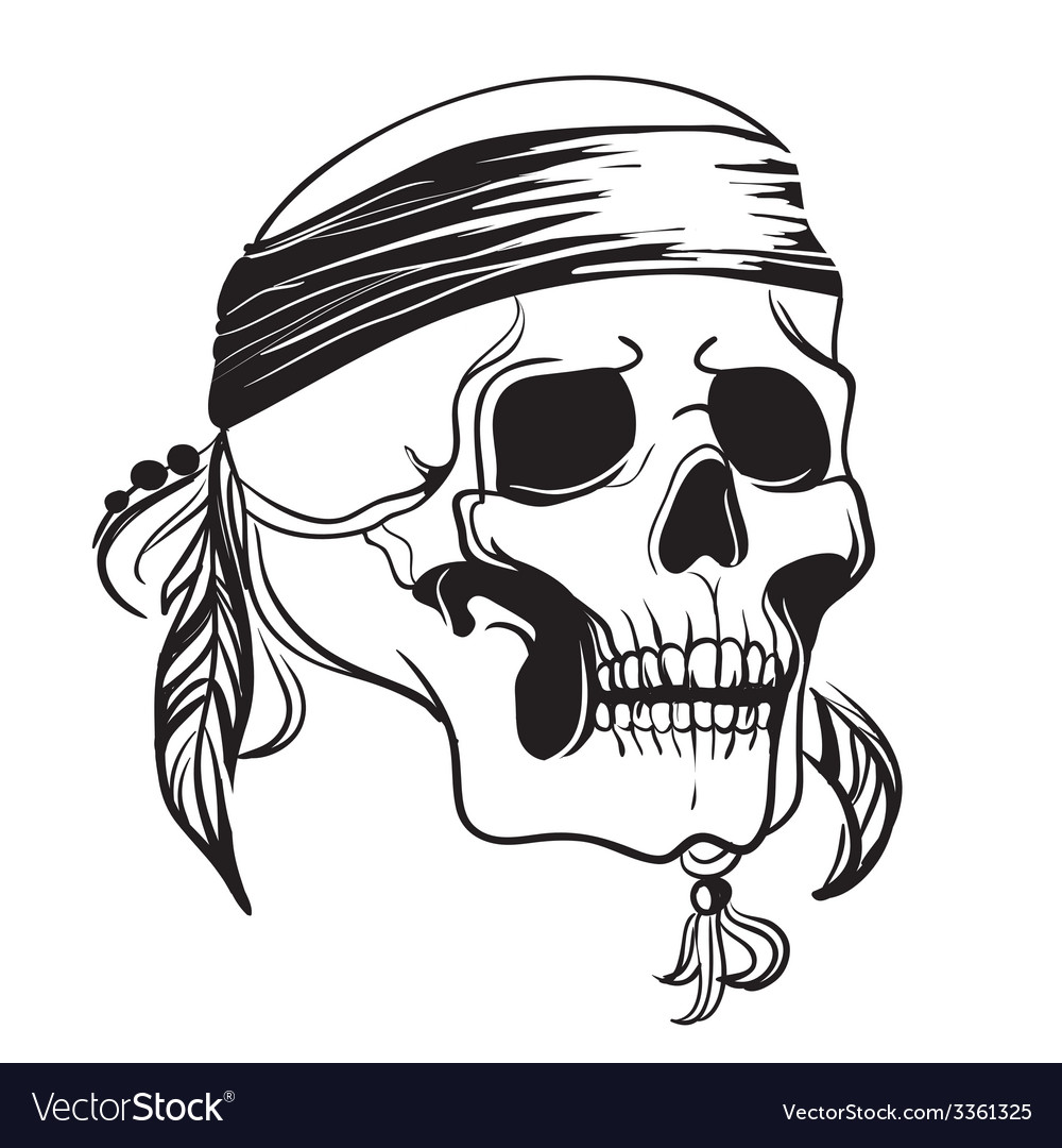 Skull with feathers vector | Price: 1 Credit (USD $1)