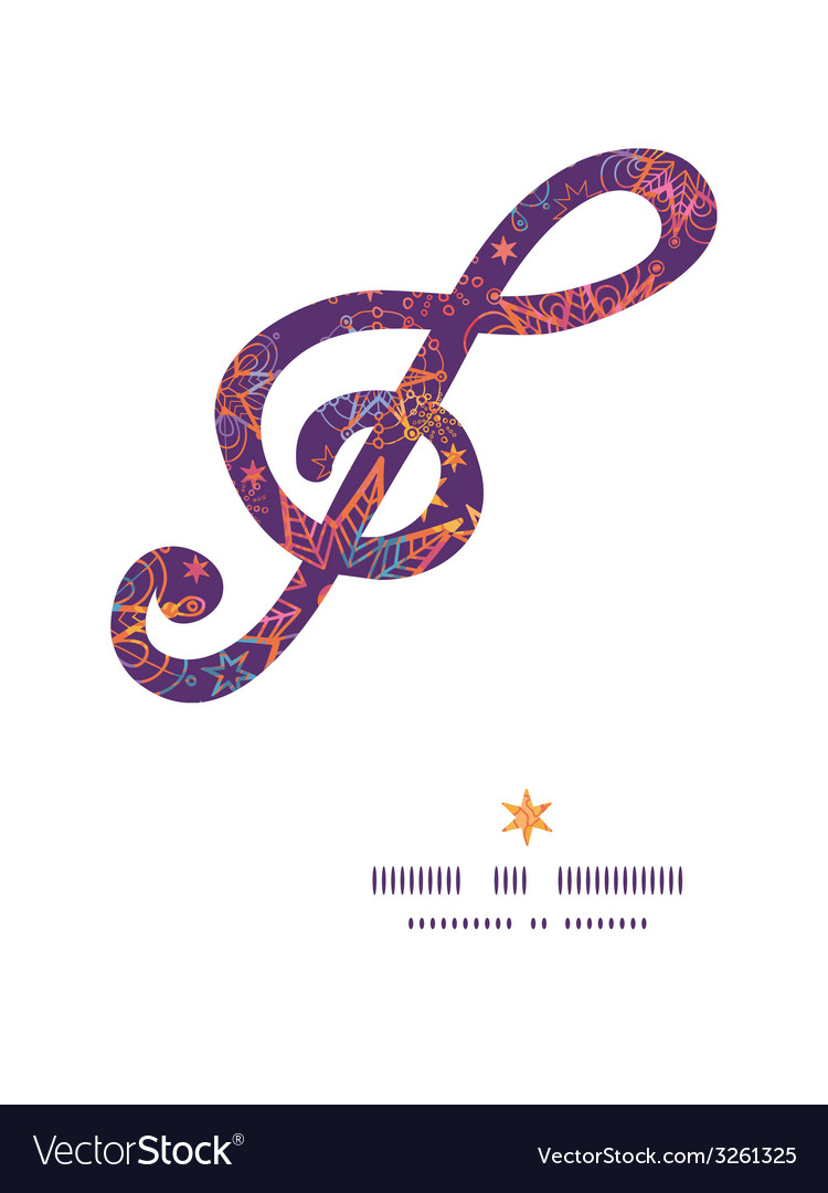 Textured christmas stars g clef musical silhouette vector | Price: 1 Credit (USD $1)