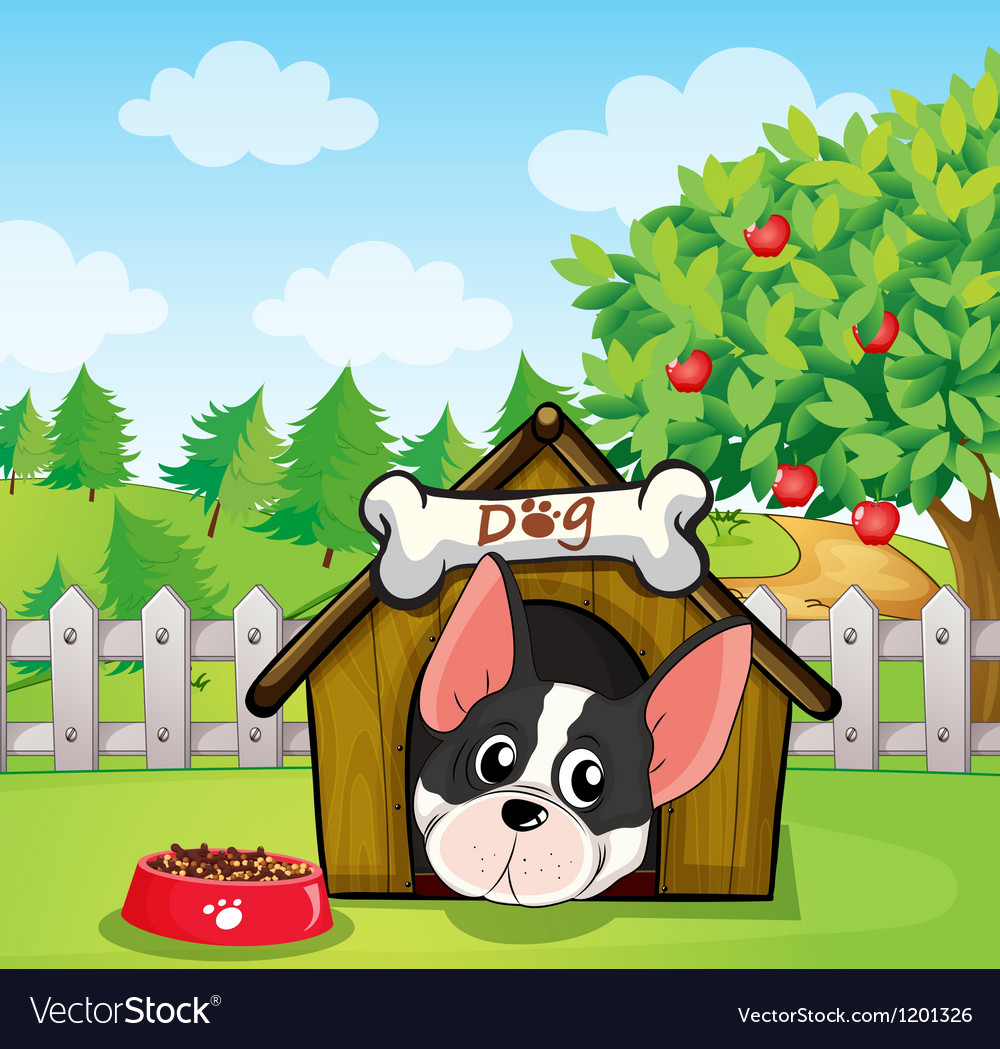 A dog inside a dog house at a backyard with an vector | Price: 1 Credit (USD $1)